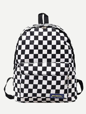 Checkered backpack school travel casual bag