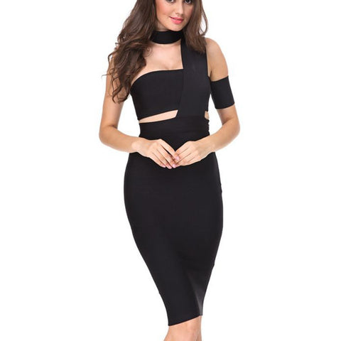 black choker cutout bandage dress