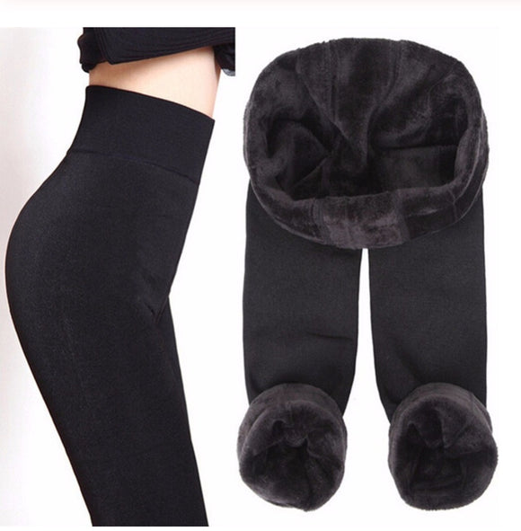 Trendy Warm fur winter leggings pants