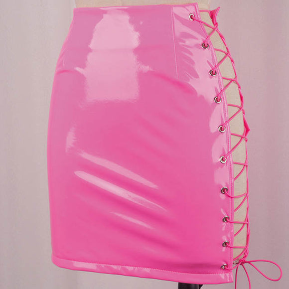 Barbie Latex leather vinyl lace up side mini skirt