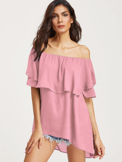 Dainty Pink oversize off the shoulder blouse