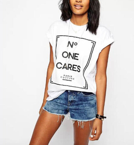 NO ONE CARES FASHION TSHIRT - Iconic Trendz Boutique