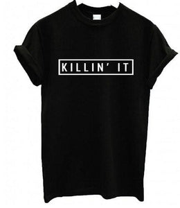 killin it printed retro tshirt - Iconic Trendz Boutique
