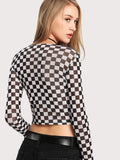 Sheer checkered crop top