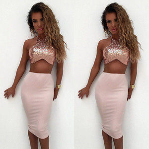 Sequins 2 piece crop top midi skirt set