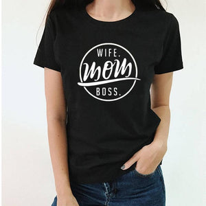 Wife mom boss logo printed tshirt