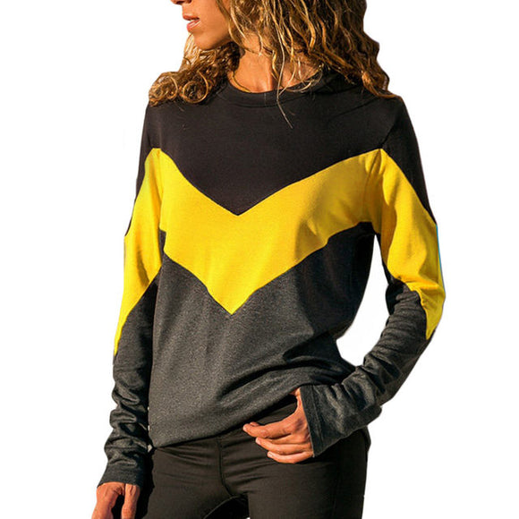 Ladies colorblock long sleeve fashion top