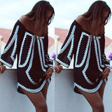 Off the shoulder 2 tone mini boho dress