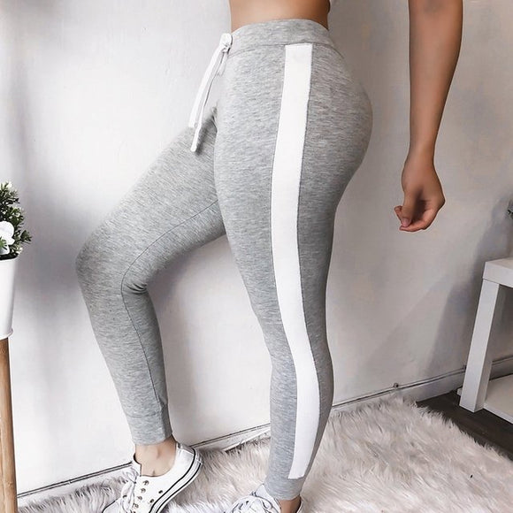Side stripe casual elastic waist legging joggers