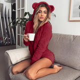 Fluffy comfy bear ears lounge one piece romper