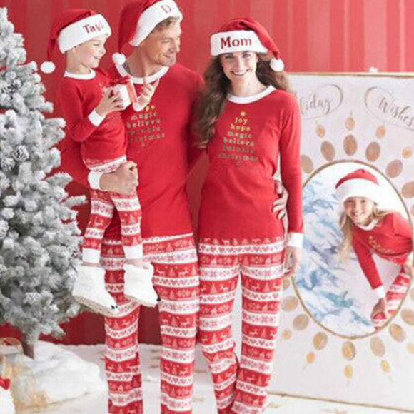 Matching family mom dad kids Christmas pajamas set