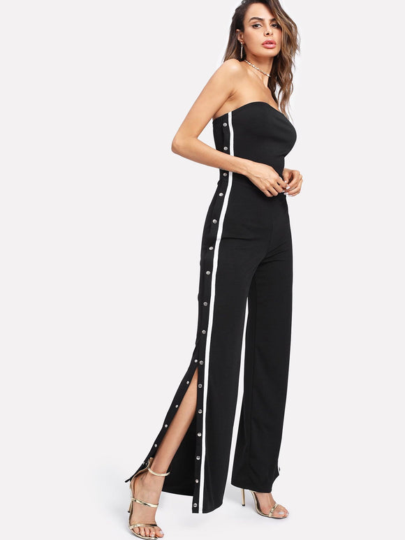 Trendy Side stripe snap side split track jumpsuit