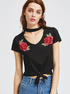 Rose detail choker crop tie top