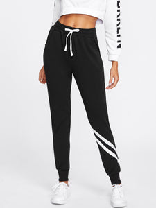 Stripe detail drawstring joggers pants