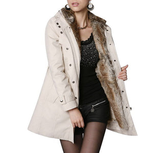 Trendy Warm fur style belted coat jacket