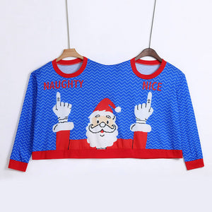 Funny 2 head couples BFF ugly Christmas sweater