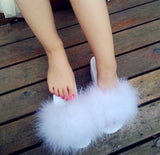 """Icon dolls"" Fluffy fur wedge platform slides slippers"