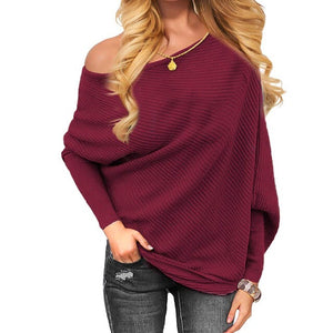 Off the shoulder dolman loose fit sweater top