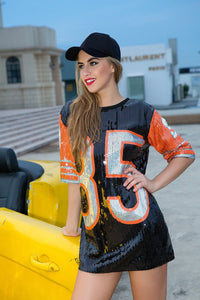Luxury Sequined number 85 football tshirt