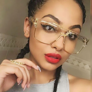 Retro luxury inspired oversize clear sunglasses