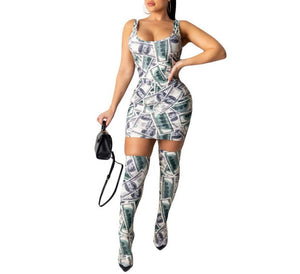 Money detail bodycon dress and matching knee high socks