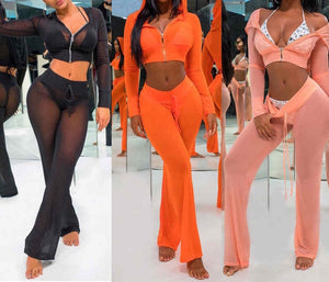 Sheer 2 piece crop top swimsuit coverup set