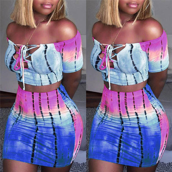 Trendy tie dye off the shoulder crop top mini skirt set