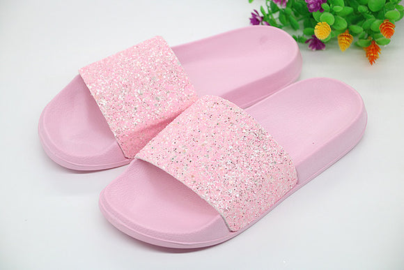 Ladies Classic glitter fashion fur slides slippers
