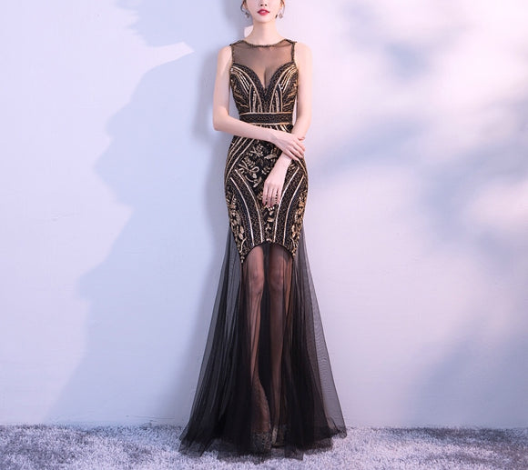 Royal Elegant beading sequins sheer Tulle mesh long evening prom formal party dress