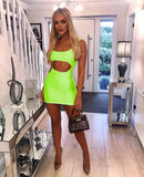 Neon cutout bodycon mini dress