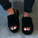 Ladies Comfy Fluffy Fur Slippers Indoor Outdoor Flat Summer Sandals Flip Flops