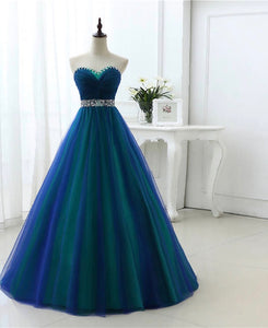 Princess rhinestone detail lace up back tulle Long formal prom dress