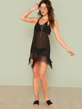 Sheer fringe swimsuit cover up dress