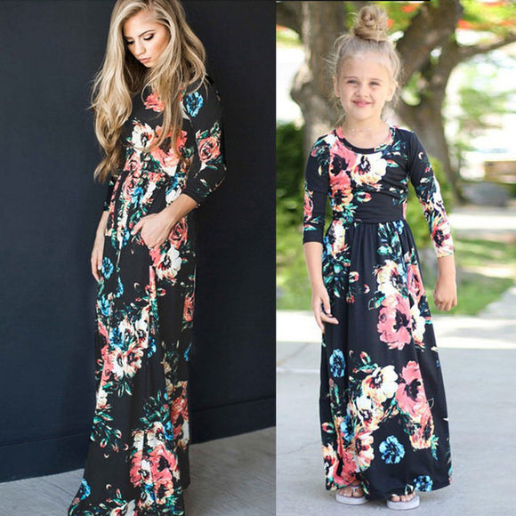 Mommy and me Mom daughter matching floral maxi dress