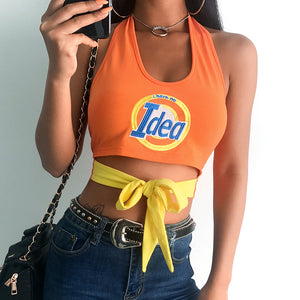 Ladies text colorblock tie front halter crop top