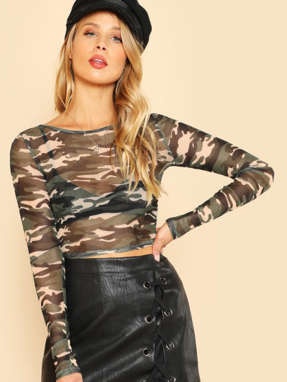Sheer camo crop top