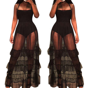 Lady Couture Sheer ruffle long maxi dress