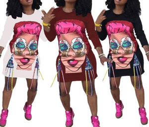 Funky Fresh 3D print detail oversize sweater tshirt dress - Iconic Trendz Boutique