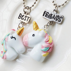 Best friends matching unicorn necklace