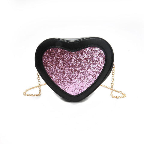 Glitter heart detail chain bag