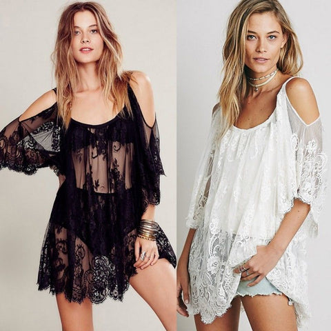 Boho chic Cutout shoulder lace detail swimsuit coverup dress