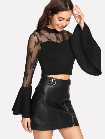 """Alexa"" flare bell sleeve crop top"