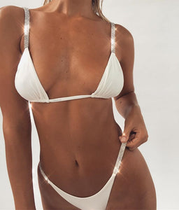 Diamond rhinestone accent 2 piece bikini swimwear