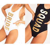 Bride squad one piece monokini swimsuit