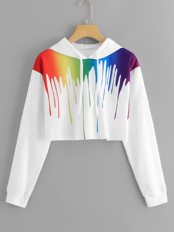 Paint dripping crop hoodie sweatshirt