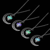 Trendy Hot Moon Glowing Gem Necklace Silver Plated Jewelry