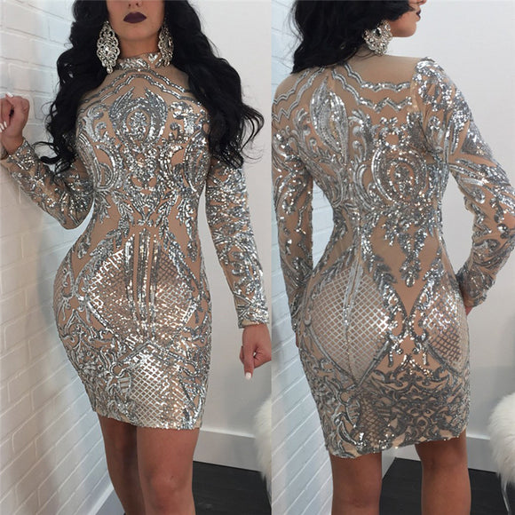 """Royal Cut"" Sequins geometric style bodycon party dress"