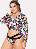 "PLUS DOLL ""90s pop"" long sleeve 2 piece strappy plus size bikini"