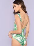 Tropical print low back bodysuit