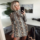 Ladies Mock neck snake skin print bodycon dress